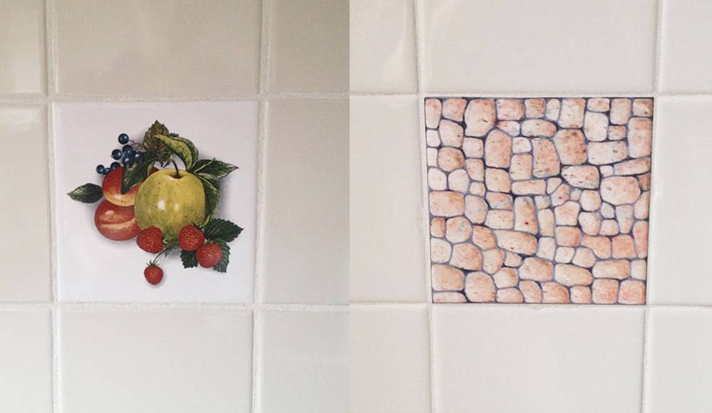 In The Kitchen Right River Pebbles In The Bathroom Blergh Thankfully I Was Able To Temporarily Hide The Ugly With A Product Called Tile Tattoos By